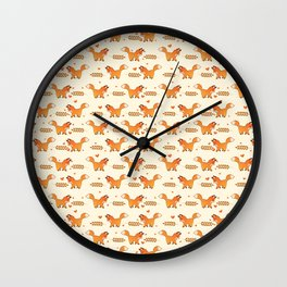 Red Fox & Hearts Pattern Wall Clock