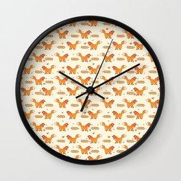 Red Fox & Hearts Pattern Wall Clock