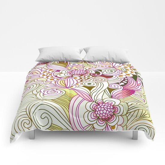 Flower fire | yellow, purple, green and ocre Comforters