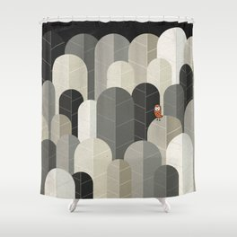 081 - Owly visits the poplar forest in autumn IV Shower Curtain