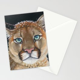 Cougar Mountain Lion Pastel Drawing Snow Stationery Cards