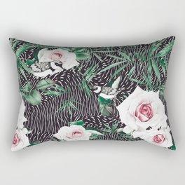 Dark flowery abstract of birds Rectangular Pillow