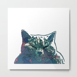 Abstract Face Cat in Vector style Metal Print