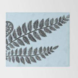 Black lace fern on powder blue background Throw Blanket