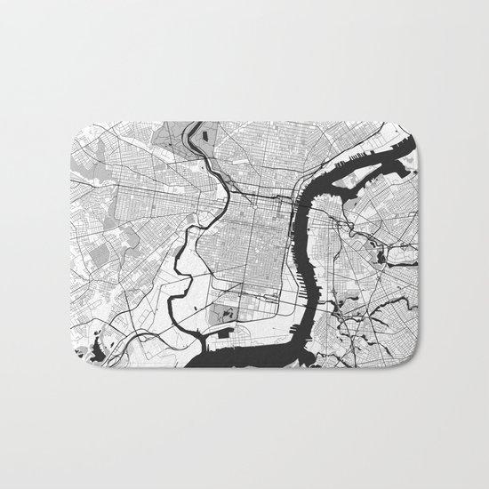 Philadelphia Map Gray Bath Mat