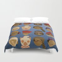 wes anderson Duvet Covers featuring Wes Anderson Hats by godzillagirl