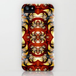 Fractal Art - Spiral in red and gold iPhone Case