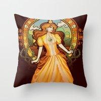 nouveau Throw Pillows featuring Daisy Nouveau by Megan Lara