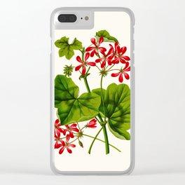 Joy Leaved Geranium Vintage Scientific Botanical Flower Illustration Hand Drawn Art Clear iPhone Case