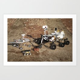 This grouping of two test rovers and a flight spare provides a graphic comparison of three generatio Art Print