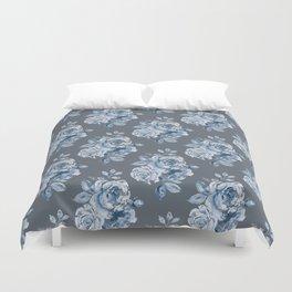 Blue Roses on Grey Duvet Cover