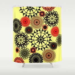 Black/Red Pattern Shower Curtain