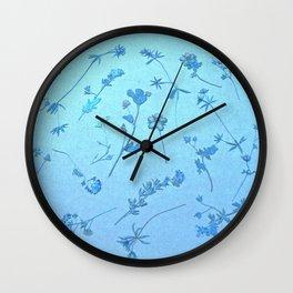 Vintage Blue Wildflowers Wall Clock