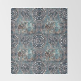 Elephant Ethnic Style Pattern Teal and Copper Throw Blanket