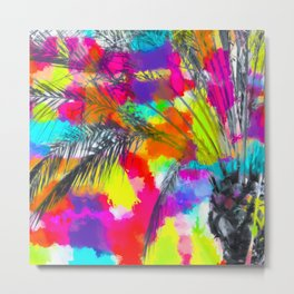 palm tree with splash painting abstract background in red pink yellow blue Metal Print