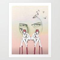 cinderella Art Prints featuring Cinderella by Kayleigh Day