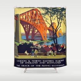 Vintage poster - Forth Bridge Shower Curtain