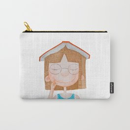 Smiling little cute girl with eyeglasses, and red book on her head. Watercolor illustration. Carry-All Pouch
