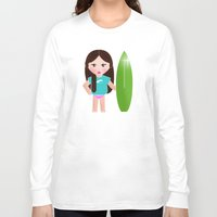 teacher Long Sleeve T-shirts featuring My surf teacher by Golosinavisual