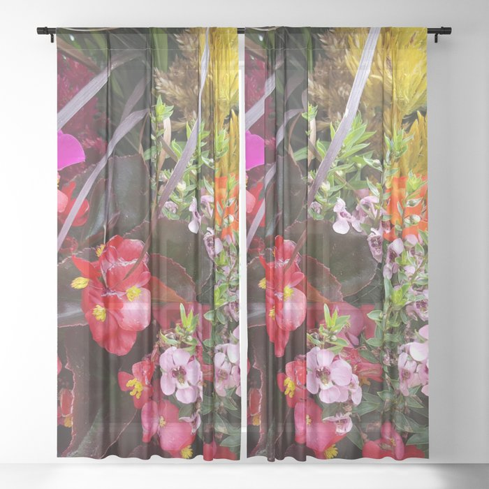 Summer Flower Garden Sheer Curtain