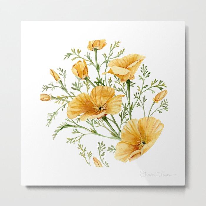 California Poppies - Watercolor Painting Metal Print