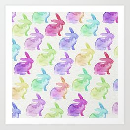 Watercolor Bunnies 1A by Kathy Morton Stanion Art Print