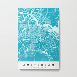 Amsterdam Map | Blue & Cyan | More Colors, Review My Collections Metal Print