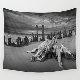 Tree Stump and Pilings on the Beach in Black and White at Kirk Park by Grand Haven Michigan Wall Tapestry