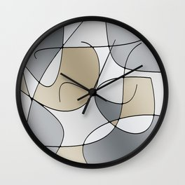 ABSTRACT CURVES #1 (Grays & Beiges) Wall Clock