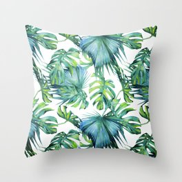 Blue Jungle Leaves, Monstera, Palm #society6 Throw Pillow