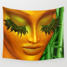 Zen Mother Nature Portrait and Bamboo Wall Tapestry