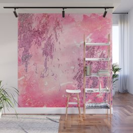 Abstract pink glitter watercolor painting Wall Mural