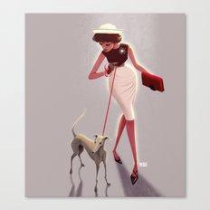 50s dogwalker  Canvas Print