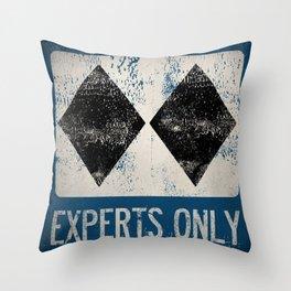 Ski Patrol Experts Only Double Black Diamond 2 Throw Pillow