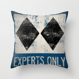 Ski Patrol Experts Only Double Black Diamond 2 Throw Pillow