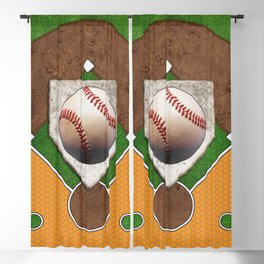 Baseball Field, Base and Ball over Orange Sports Pattern Blackout Curtain