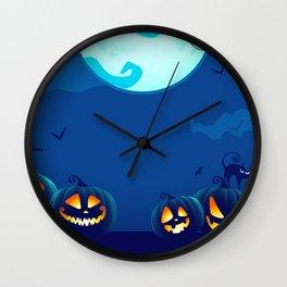 Group Of Scary Halloween Jack O Lantern Pumpkin Heads Ultra HD Wall Clock