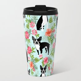 Boston Terrier florals tropical hawaiian print dog breeds custom dog art pet portraits Travel Mug
