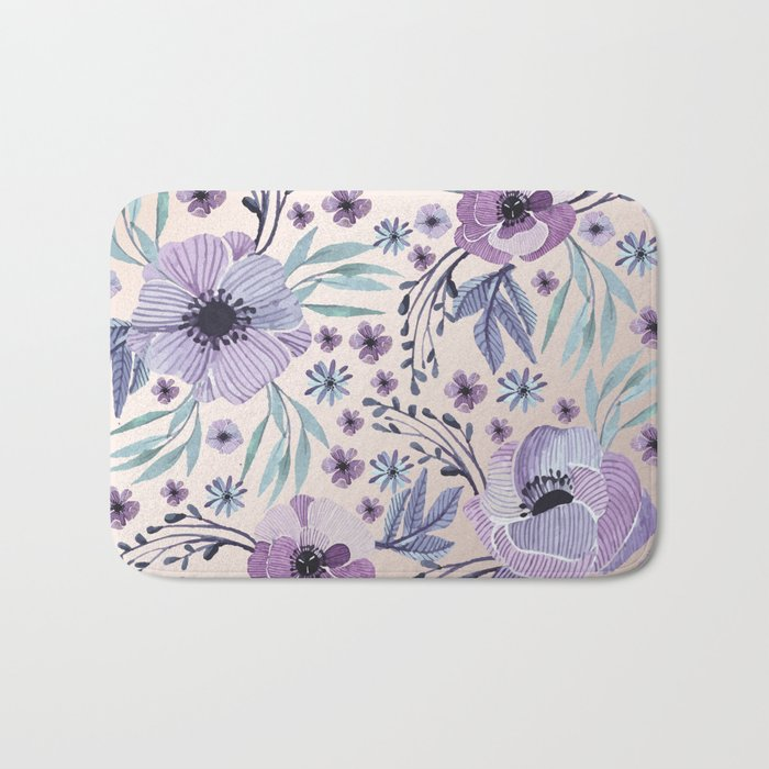 Purple Flowers and Green Leaves Bath Mat
