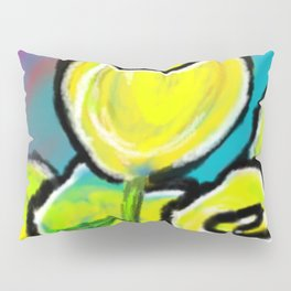 Colorful Yellow Rose Flowers with Purple Blue and Green Pillow Sham
