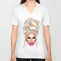 rupaul V-neck T-shirts featuring RuPaul Blonde  by dannydax
