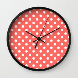 Small Polka Dots - White on Pastel Red Wall Clock