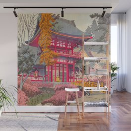 Japanese Woodblock Print Vintage Bright East Asian Red Pagoda Spring Garden Wall Mural