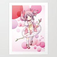 madoka Art Prints featuring Madoka Kaname by Yue Graphic Design