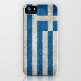 Flag of Greece, vintage retro style iPhone Case
