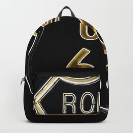 Route 66 American Road Sign Neon Backpack