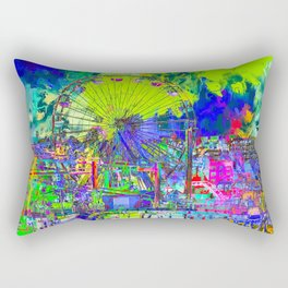 ferris wheel and buildings at Santa Monica pier, USA with colorful painting abstract background Rectangular Pillow
