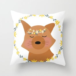 Smiling Fox in Flower Crown and Daisy Wreath Throw Pillow