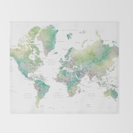 Watercolor world map in muted green and brown, with country capitals Throw Blanket