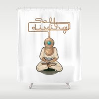 diver Shower Curtains featuring Self Diver by mbeller